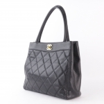 Chanel caviar quilted leather turnlock top handle handbag image 3