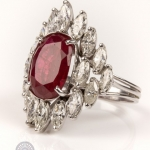 Red gemstone and diamond ring image 2