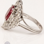 Red gemstone and diamond ring image 3