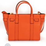 Mulberry bayswater bright orange small zipped bag image 2