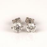 Pair of diamond single-stone earrings image 2