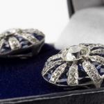 Pair of diamond and sapphire earrings image 2
