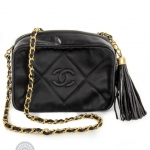 Chanel vintage camera tassel black shoulder bag image 3