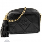 Chanel vintage camera tassel black shoulder bag image 4