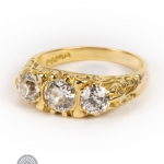 18ct gold diamond three-stone ring image 2