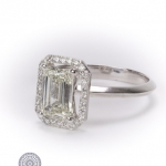 Emerald-cut diamond halo ring image 2